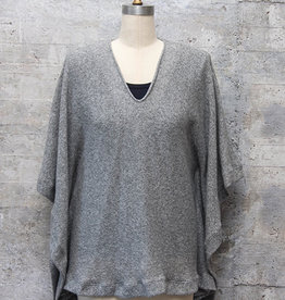 Nally and Millie V-Neck Poncho in Heather Grey