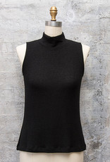 Nally and Millie Mock Neck Sleeveless Top in Black