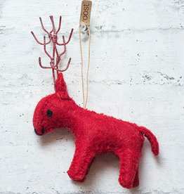 Roost Reindeer Ornament Red