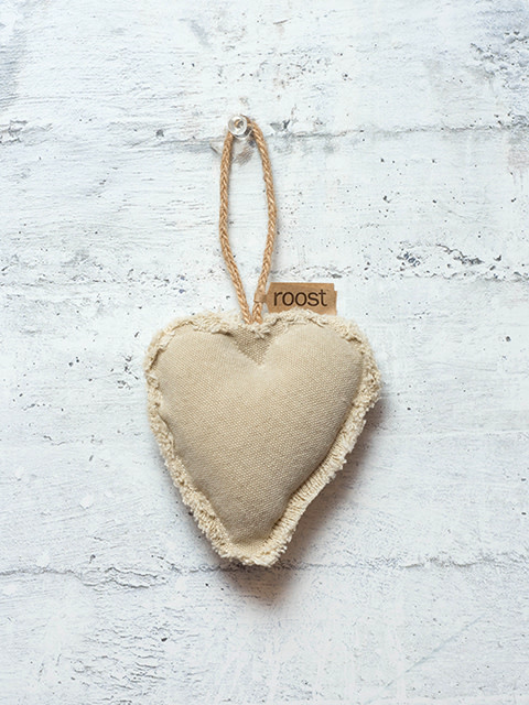 Roost Fringed Canvas Medium Heart Ornament