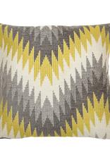 Kreatelier Geometric Pillow Grey and Mustard 18 x 18in