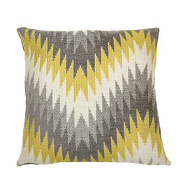 Kreatelier Geometric Pillow Grey and Mustard 18 x 18in