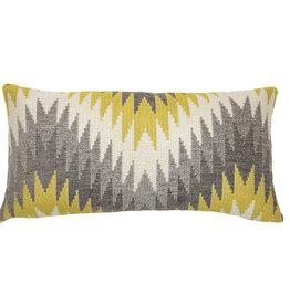Kreatelier Geometric Pillow Grey Mustard 11 x 20in
