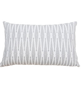 Kreatelier Diamond Pillow in Grey and White 14 x 24in