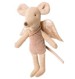 Maileg Fairy Mouse Little Sister Mauve in Suitcase