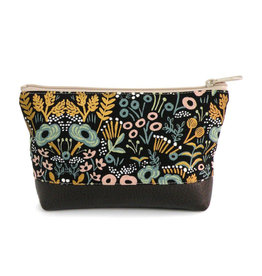 Red Staggerwing Cosmetic Clutch Small in Metallic Floral