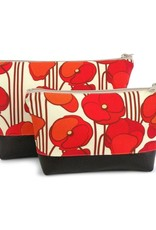 Red Staggerwing Cosmetic Clutch small in Orange Poppy