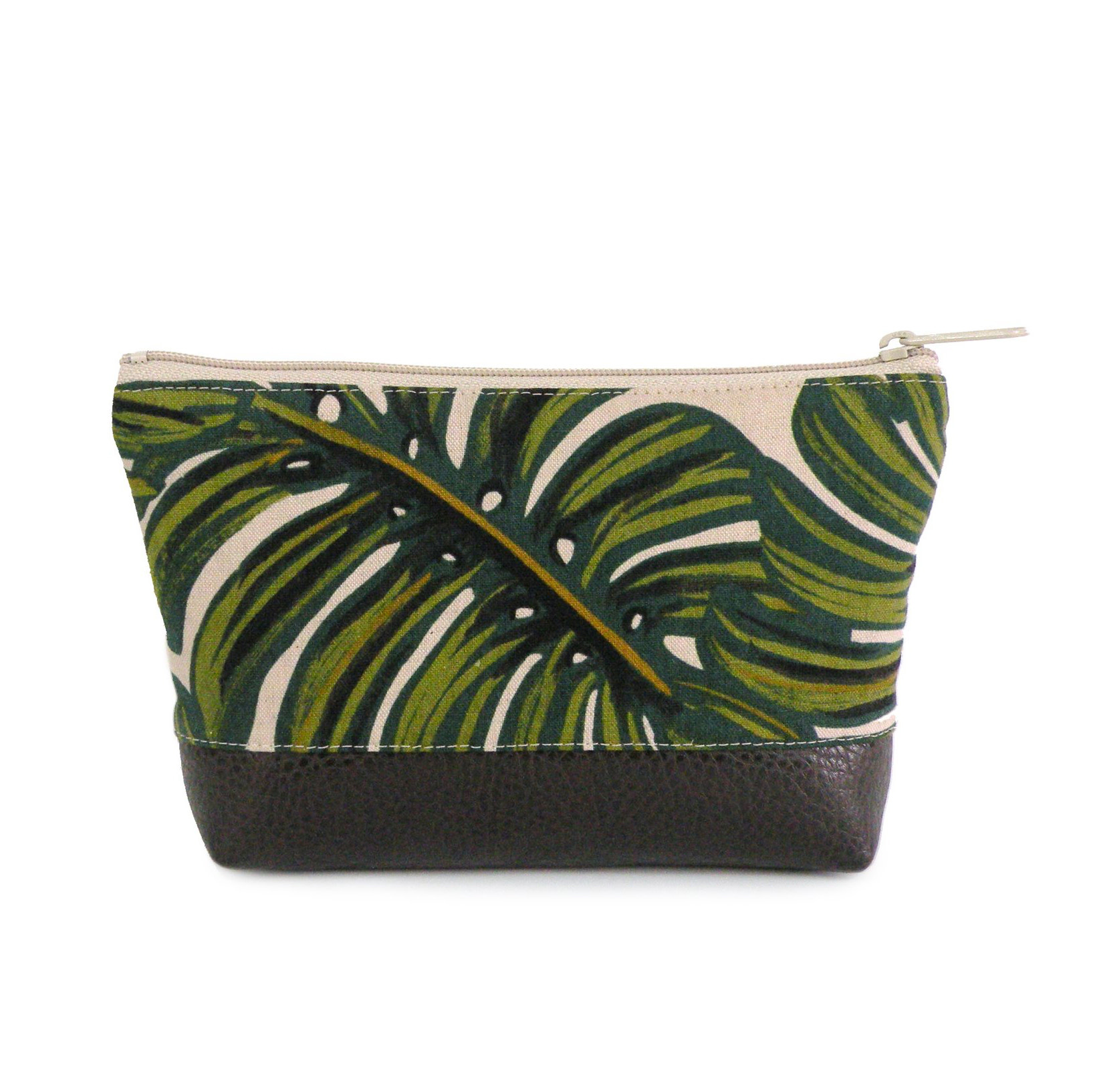 Red Staggerwing Cosmetic Clutch small in Tropical Leaf