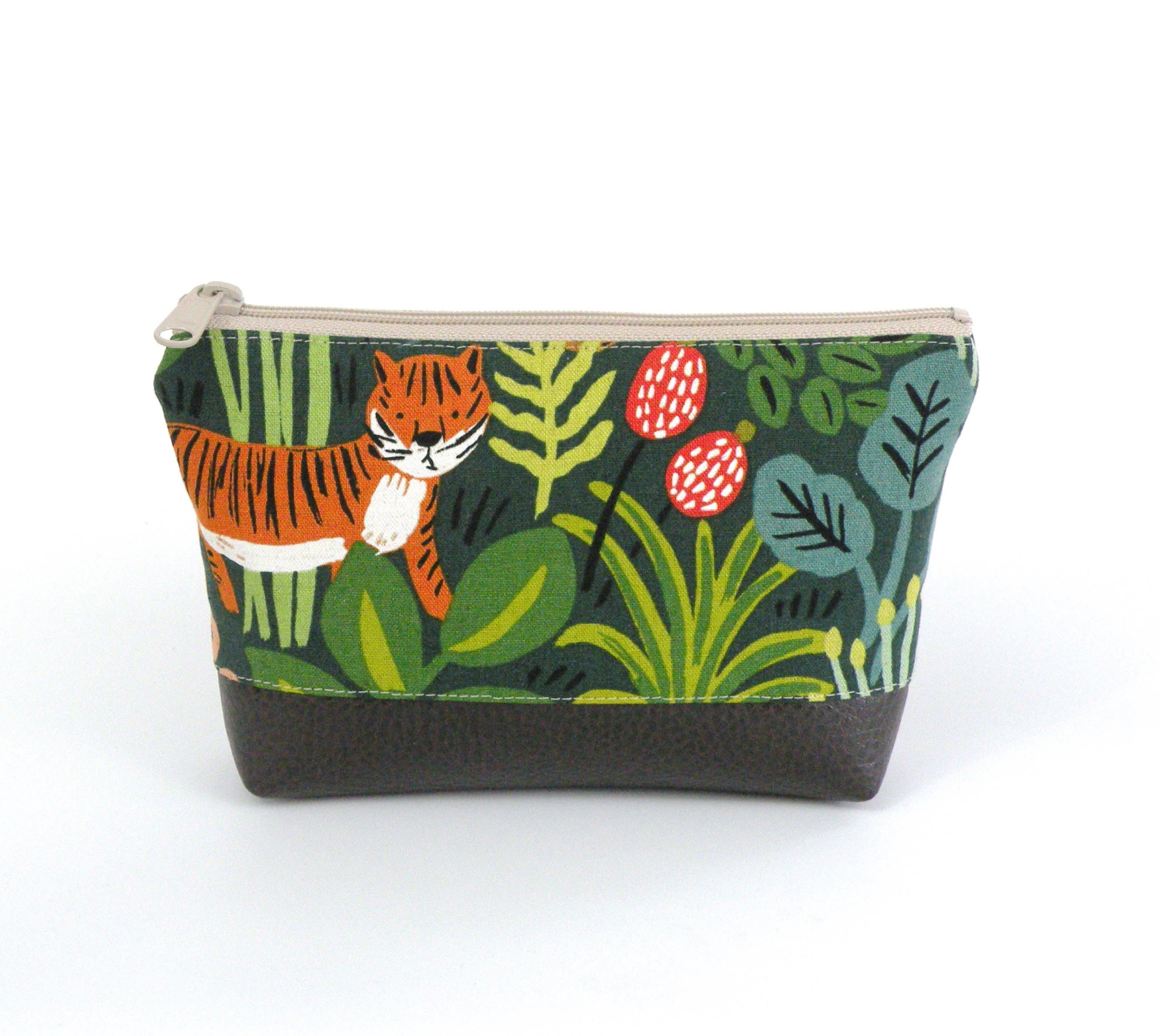 Red Staggerwing Cosmetic Clutch Small in Jungle Floral