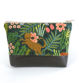 Red Staggerwing Cosmetic Clutch Large in Jungle Floral
