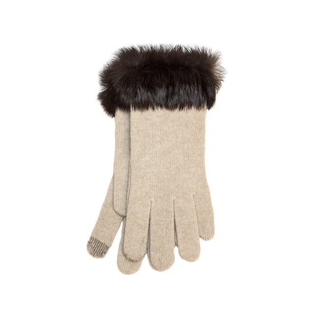 Santacana Wool and Cashmere Glove Fur Beige