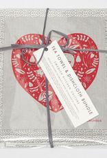 Esthetic Living Tea Towel & Swedish Dishcloth heart and Leaves Grey