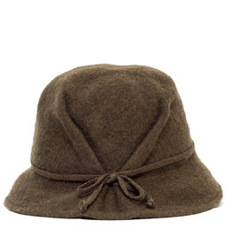 Santacana Wool Pleated Hat Bow Olive