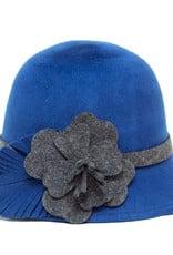 Santacana Cloche Felt Hat Flower Blue