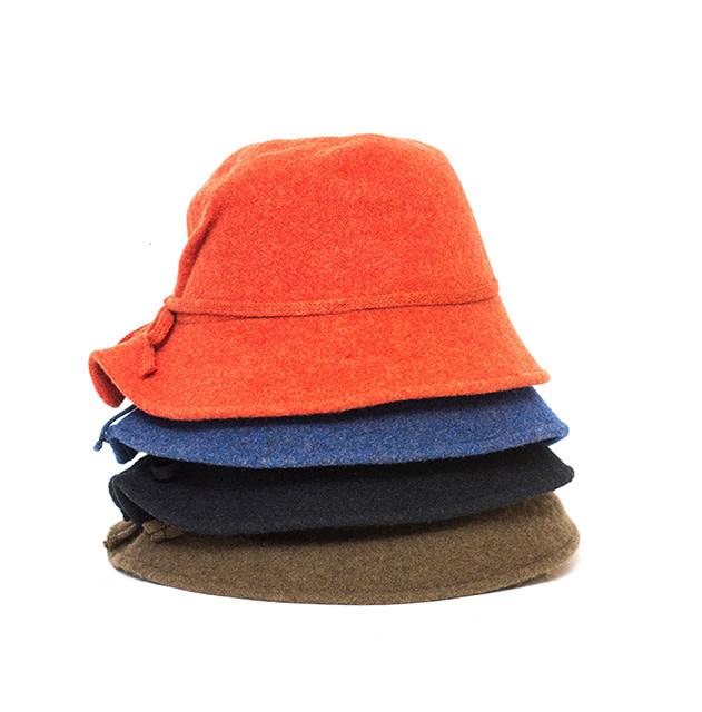 Santacana Wool Pleated Hat Bow Terracotta