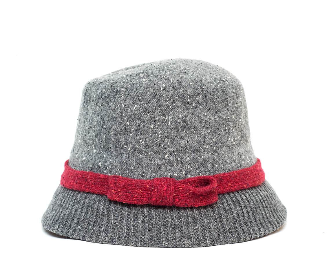 Santacana Wool Cloche Hat Contrast Band Grey
