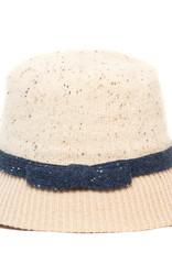 Santacana Wool Cloche Hat Contrast Band Beige