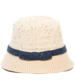 Santacana Wool Cloche Hat Contrast Band Beige