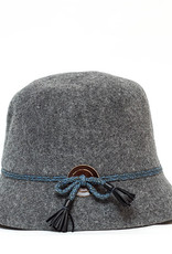 Santacana Wool Cloche Hat Band Grey