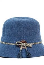 Santacana Wool Cloche Hat Band Blue