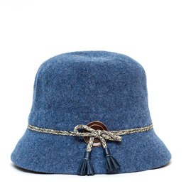 Santacana Wool Cloche Hat Band Blue