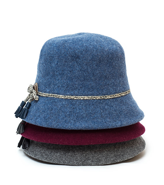 Santacana Wool Cloche Hat Band Wine