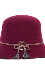 Santacana Wool Cloche Hat Band Wine
