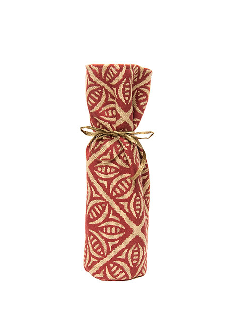 Kreatelier Bottle Gift Bag Morrocan Tile Red