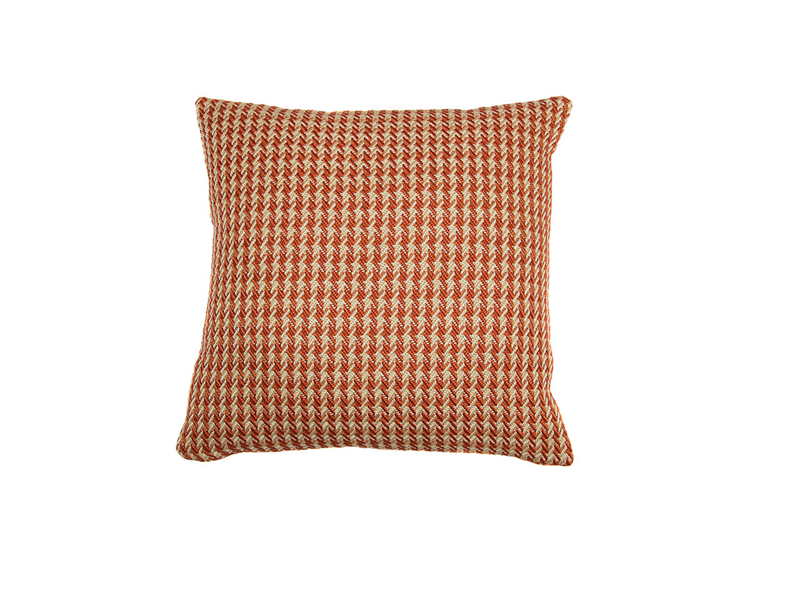 Kreatelier Houndstooth Pillow in Burnt Orange 17 x 17in
