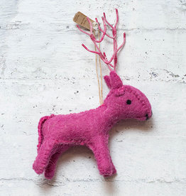 Roost Reindeer Ornament Pink