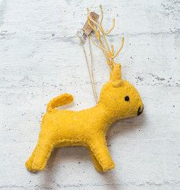 Roost Reindeer Ornament Yellow