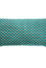 Kreatelier Check Pillow in Turquoise 10 x 18in