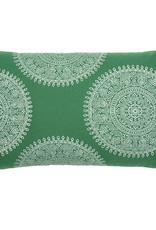 Kreatelier Medallion Pillow in Green 14 x 24in