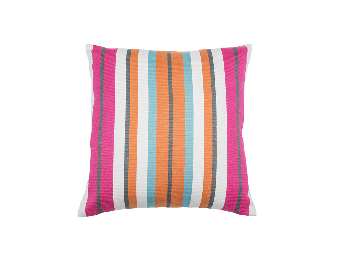 Kreatelier Stripe Pillow in Oranges and Pinks 18 x 18in