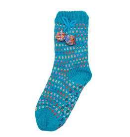 Snoozies Sherpa Lined Pom Socks Kids Turquoise