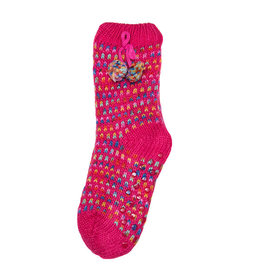 Snoozies Sherpa Lined Pom Socks Kids Pink