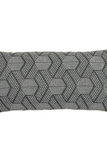 Kreatelier Geometric Pillow in Grey and White 11 x 21in