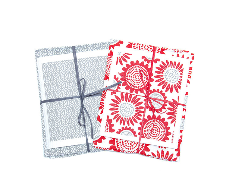 Esthetic Living Tea Towel and Swedish Dishcloth Leaves Grey
