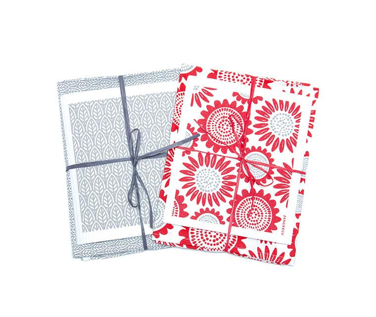 Esthetic Living Tea Towel & Swedish Dishcloth Leaves Grey