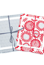 Esthetic Living Tea Towel and Swedish Dishcloth Sunflower Red