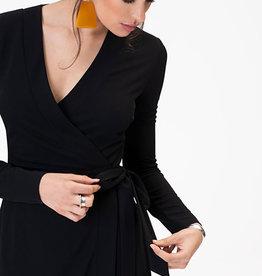 Leota Kara Dress in Moss Crepe Black