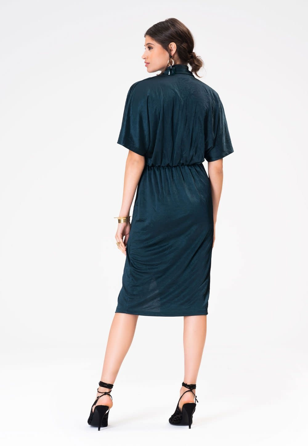 Leota Willow Dress in Luster Jersey Teal Green