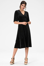 Leota Zoe Dress in Gold Dotted Velvet
