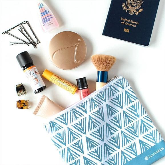 3greenmoms 2-Pack Reusable Bag Set Blue Geo (zippered)