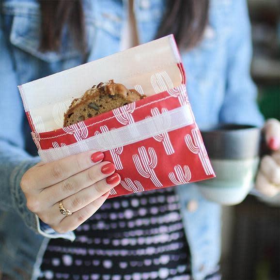3greenmoms Reusable Snack Bag Red Cactus (Velcro)