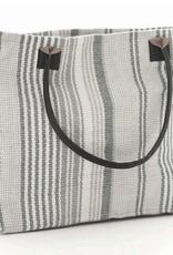 Dash & Albert Gradation Ticking Woven Cotton Tote Bag