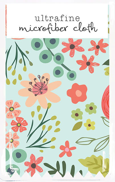 Gina B Designs Microfiber Cloth Coral/Lt Blue Flowers