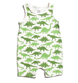 Winter Water Factory Tank Top Romper Dinosaurs Green