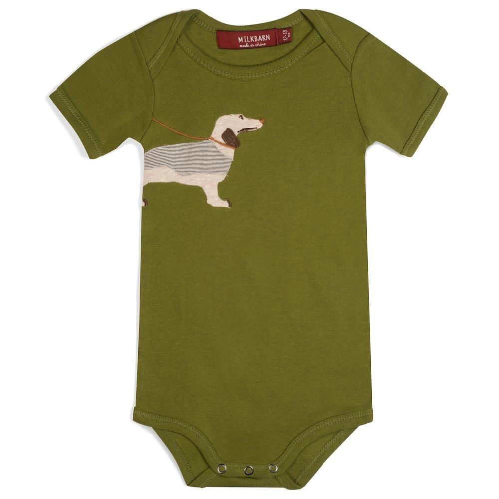 Milkbarn Applique 1pc Green Dog