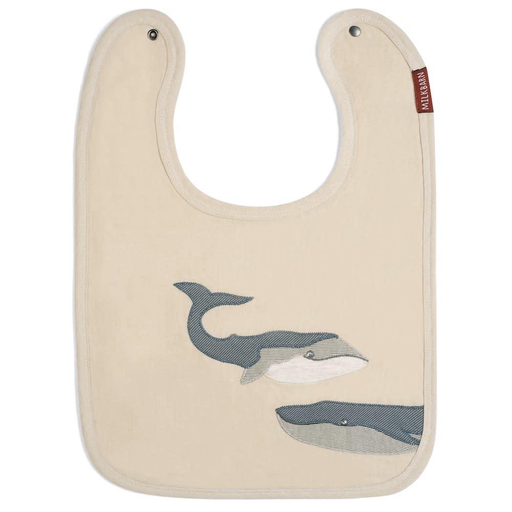 Milkbarn Applique Linen Bib Whale